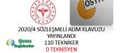 2020/4 Sözleşmeli Alım Kılavuzu Yayınlandı 110 Tekniker 0 Teknisyen