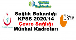 Sağlık Bakanlığı KPSS 2020/14 Çevre Sağlığı Münhal Kadroları